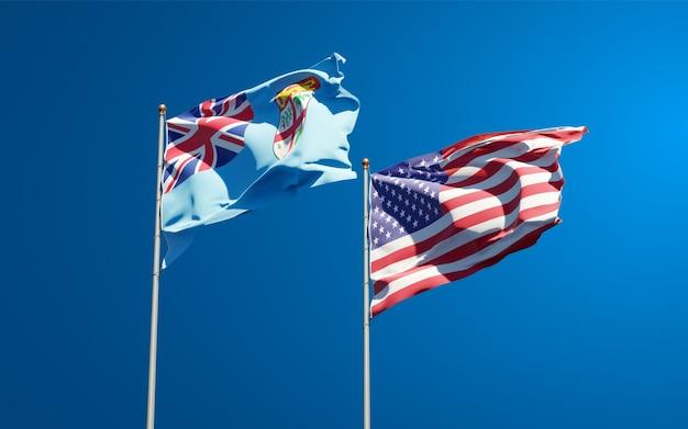 Belle bandiere di stato nazionali di fiji e stati uniti insieme