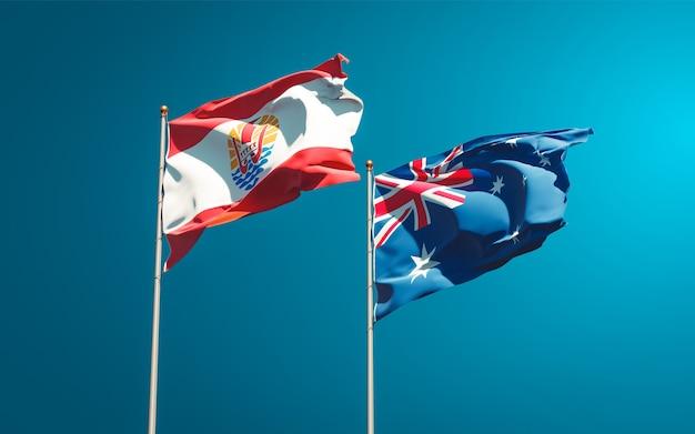Belle bandiere di stato nazionali della polinesia francese e dell'australia insieme