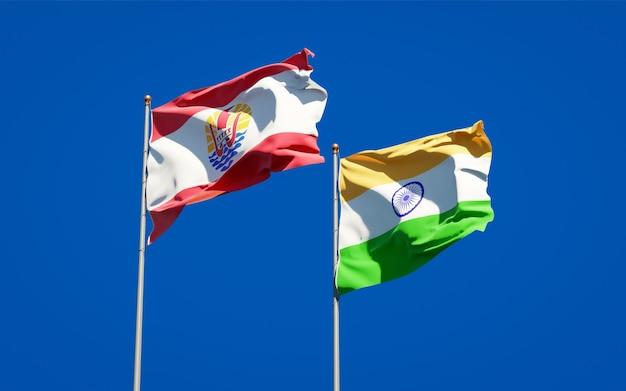 Belle bandiere di stato nazionali della polinesia francese e dell'india insieme