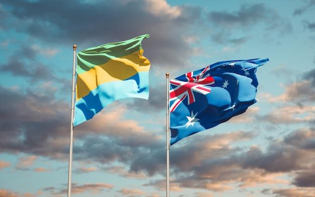 Belle bandiere nazionali dello stato del gabon e dell'australia insieme
