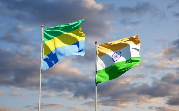 Belle bandiere nazionali dello stato del gabon e dell'india insieme