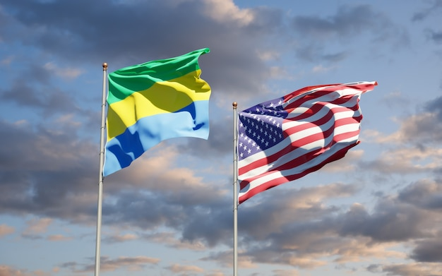 Belle bandiere di stato nazionali del gabon e degli stati uniti insieme