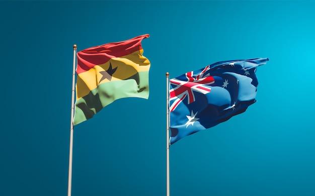 Belle bandiere di stato nazionali del ghana e dell'australia insieme