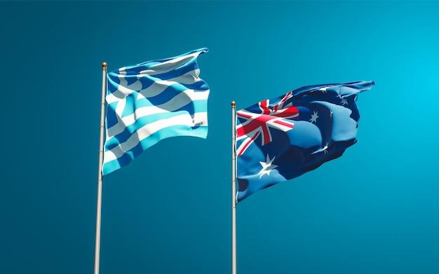 Belle bandiere di stato nazionali della grecia e dell'australia insieme