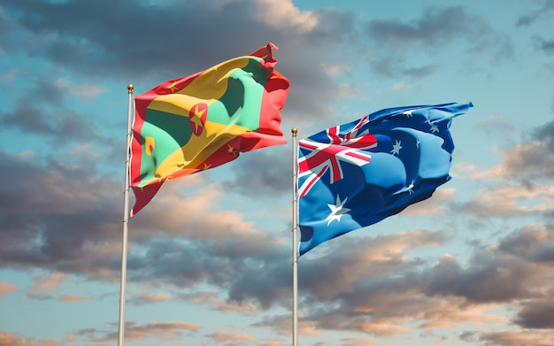 Belle bandiere nazionali dello stato di grenada e australia insieme