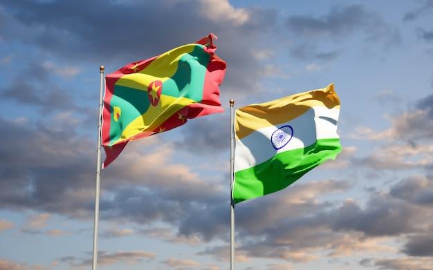 Belle bandiere nazionali dello stato di grenada e india insieme