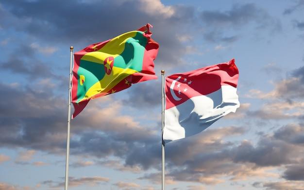 Belle bandiere nazionali dello stato di grenada e singapore insieme