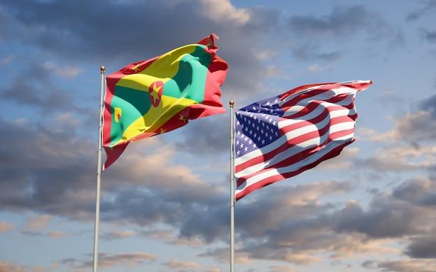 Belle bandiere dello stato nazionale di grenada e usa insieme