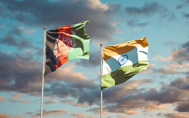 Belle bandiere di stato nazionali dell'india e dell'afghanistan insieme
