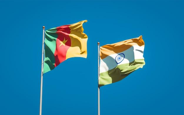 Belle bandiere nazionali di stato dell'india e del camerun insieme