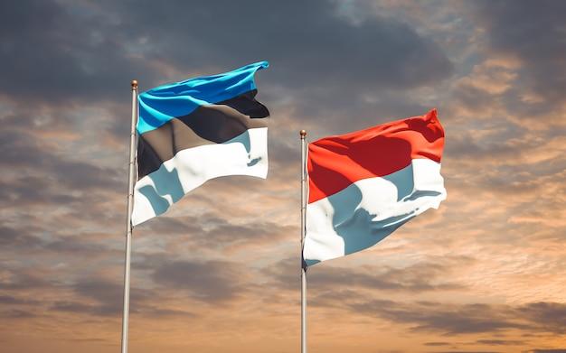 Belle bandiere di stato nazionali di indonesia ed estonia insieme sul cielo blu