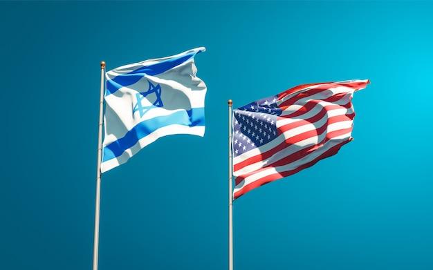 Belle bandiere dello stato nazionale di israele e stati uniti d'america insieme