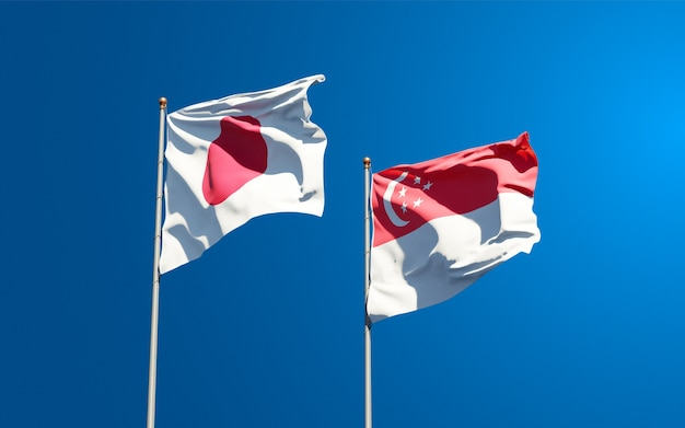 Belle bandiere nazionali dello stato del giappone e singapore insieme