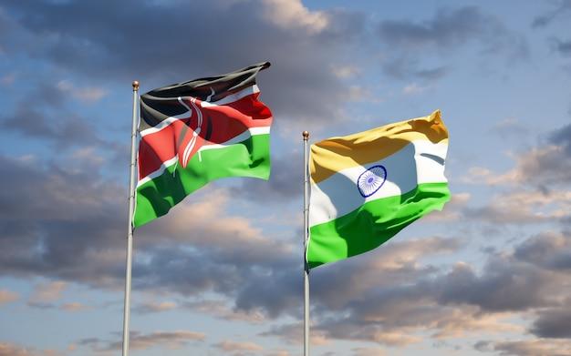 Belle bandiere di stato nazionali del kenya e dell'india insieme
