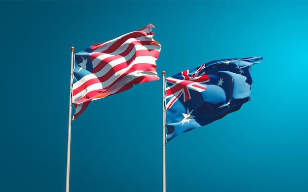 Belle bandiere di stato nazionali della liberia e dell'australia insieme