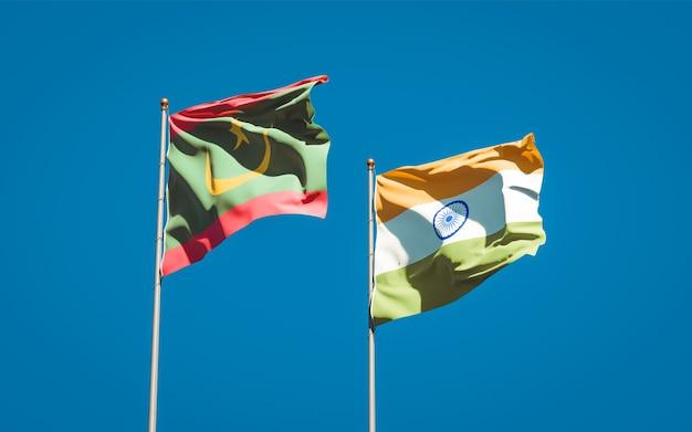 Belle bandiere nazionali dello stato della mauritania e dell'india insieme