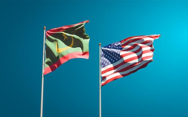 Belle bandiere di stato nazionali della mauritania e degli stati uniti insieme