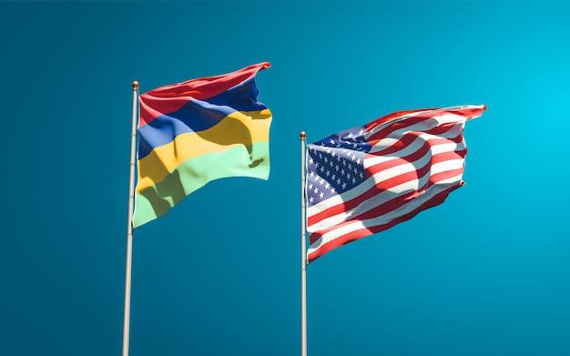 Belle bandiere di stato nazionali di mauritius e stati uniti insieme