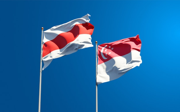 Belle bandiere di stato nazionali della nuova bielorussia e singapore insieme