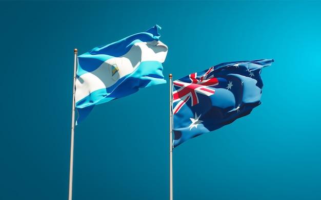 Belle bandiere nazionali dello stato del nicaragua e dell'australia insieme