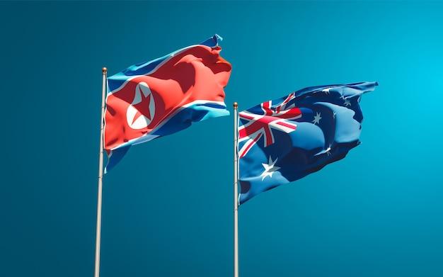 Belle bandiere di stato nazionali della corea del nord e dell'australia insieme