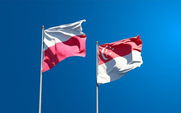 Belle bandiere di stato nazionali di polonia e singapore insieme