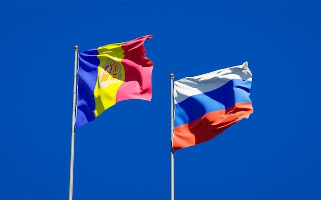 Belle bandiere nazionali dello stato della russia e andorra insieme sul cielo blu. grafica 3d