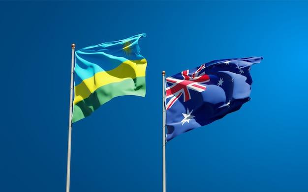Belle bandiere nazionali dello stato del ruanda e dell'australia insieme