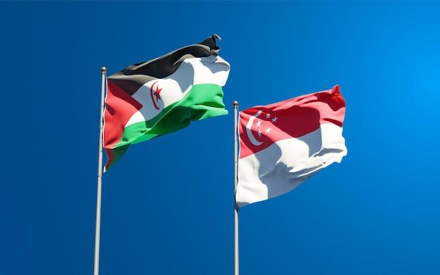 Belle bandiere di stato nazionali di saharawi e singapore insieme