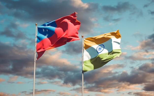 Belle bandiere nazionali dello stato di samoa e india insieme