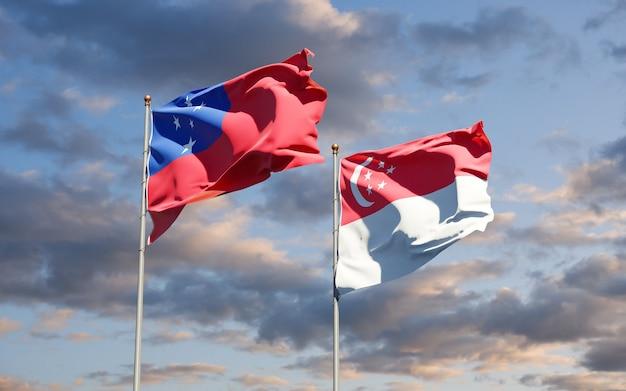 Belle bandiere di stato nazionali di samoa e singapore insieme