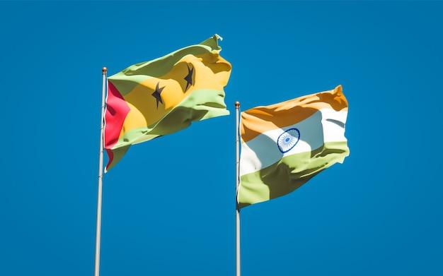 Belle bandiere nazionali dello stato di sao tome e principe e india insieme