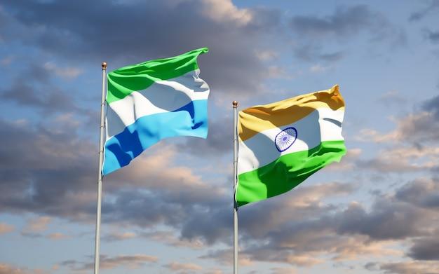 Belle bandiere nazionali dello stato della sierra leone e dell'india insieme