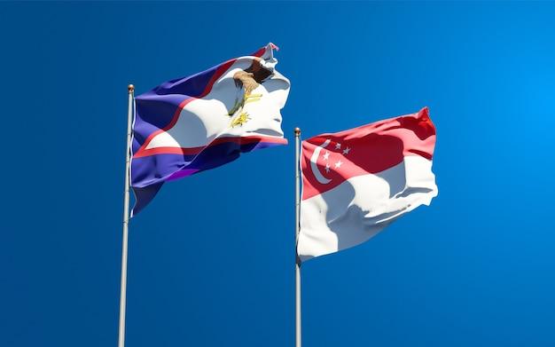 Belle bandiere nazionali dello stato di singapore e samoa americane
