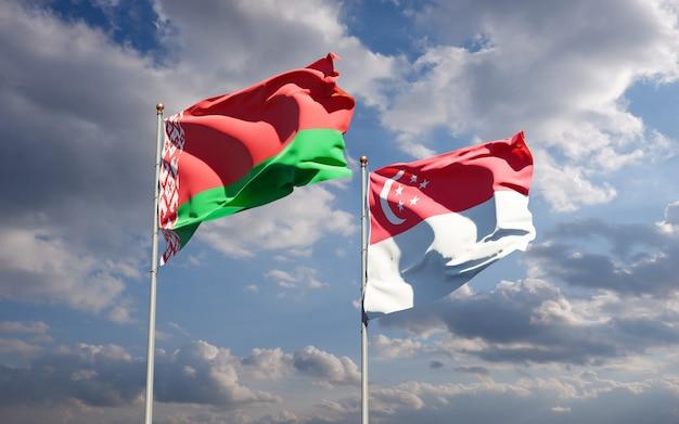 Belle bandiere di stato nazionali di singapore e bielorussia