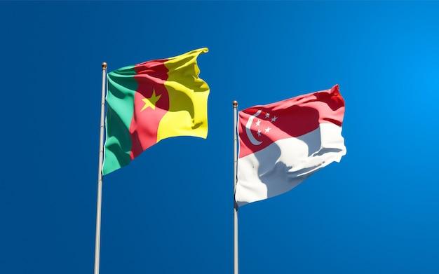 Belle bandiere di stato nazionali di singapore e camerun