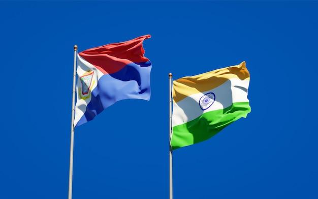 Belle bandiere nazionali dello stato di sint maarten e india insieme