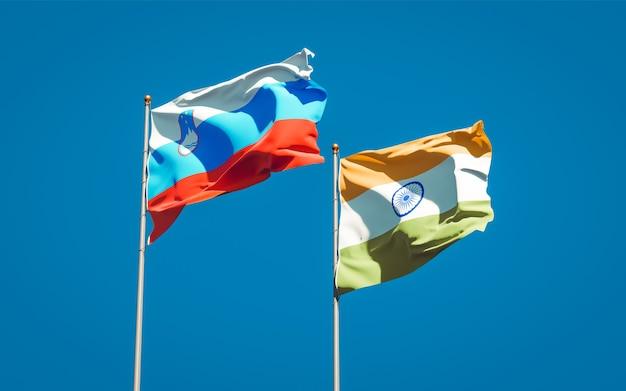 Belle bandiere nazionali di stato della slovenia e dell'india insieme