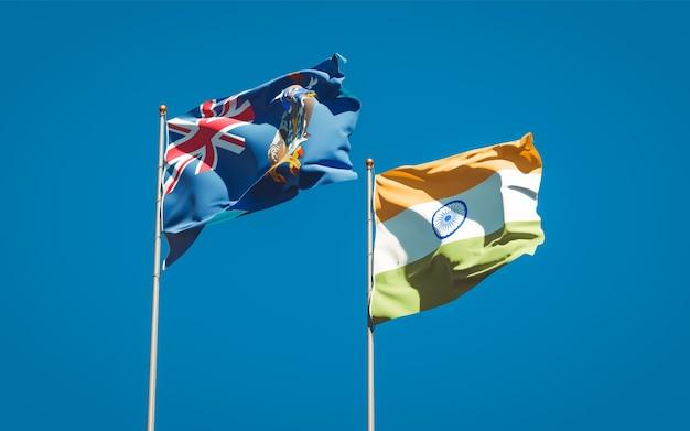 Belle bandiere di stato nazionali della georgia del sud e delle isole sandwich meridionali e dell'india insieme