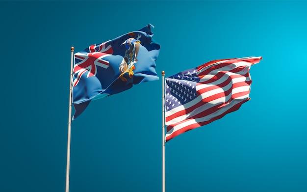 Belle bandiere di stato nazionali della georgia del sud e isole sandwich meridionali e stati uniti insieme