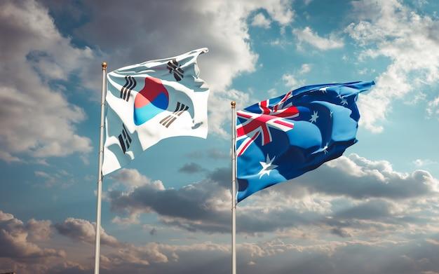 Belle bandiere di stato nazionali della corea del sud e dell'australia insieme