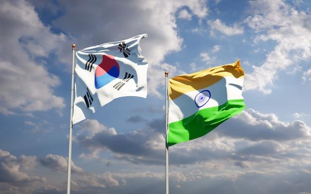 Belle bandiere di stato nazionali della corea del sud e dell'india insieme