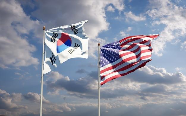 Belle bandiere di stato nazionali della corea del sud e stati uniti insieme