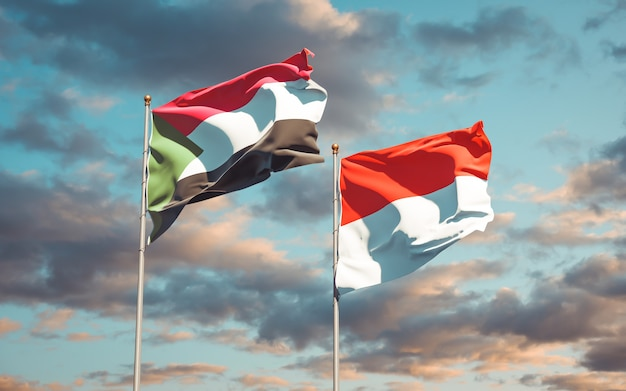 Belle bandiere di stato nazionali del sudan e dell'indonesia insieme sul cielo blu