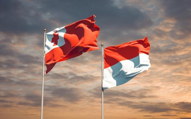 Belle bandiere nazionali dello stato di tonga e indonesia insieme sul cielo blu
