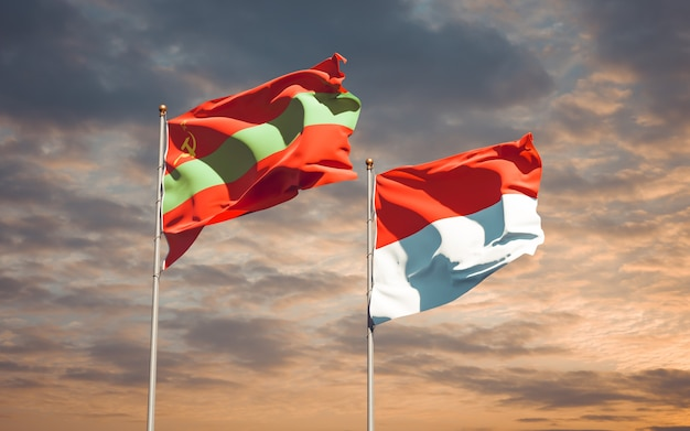 Belle bandiere dello stato nazionale della transnistria e dell'indonesia insieme sul cielo blu