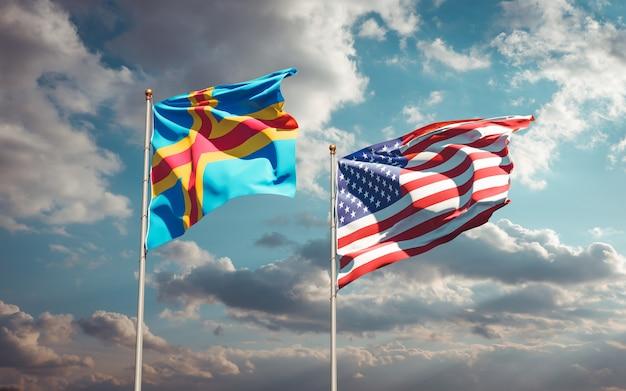 Belle bandiere di stato nazionali degli stati uniti e delle isole aland insieme