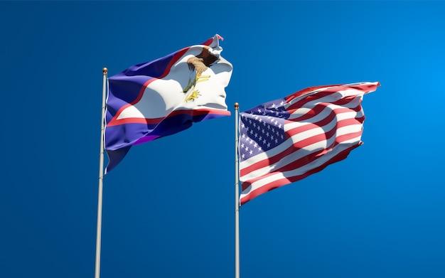 Belle bandiere di stato nazionali di usa e samoa americane insieme