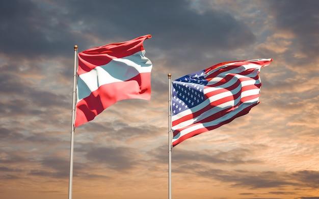 Belle bandiere di stato nazionali di usa e austria insieme