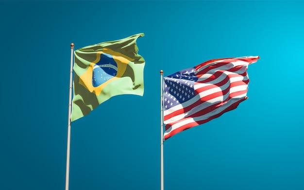 Belle bandiere di stato nazionali di usa e brasile insieme
